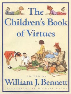 """The Book of Virtues"" book cover. (Various children reading and learning)"