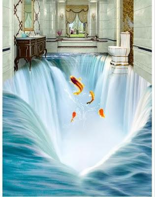 fantasy 3d floor murals for bathrooms using epoxy paint