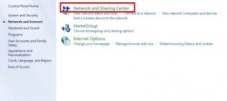 network and sharing center to access internet