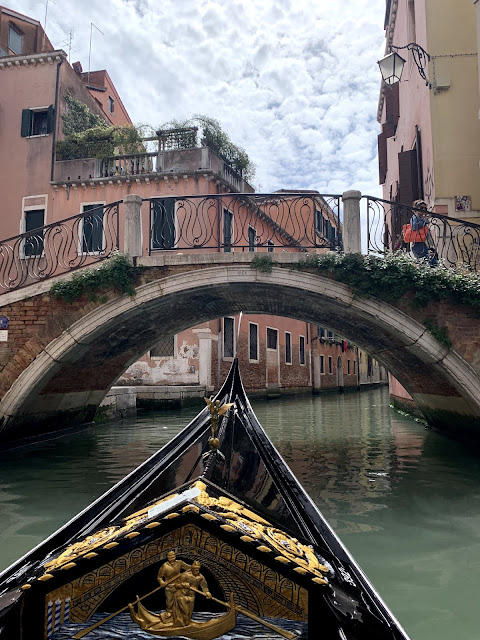 View of Venetian bridge from Gondola