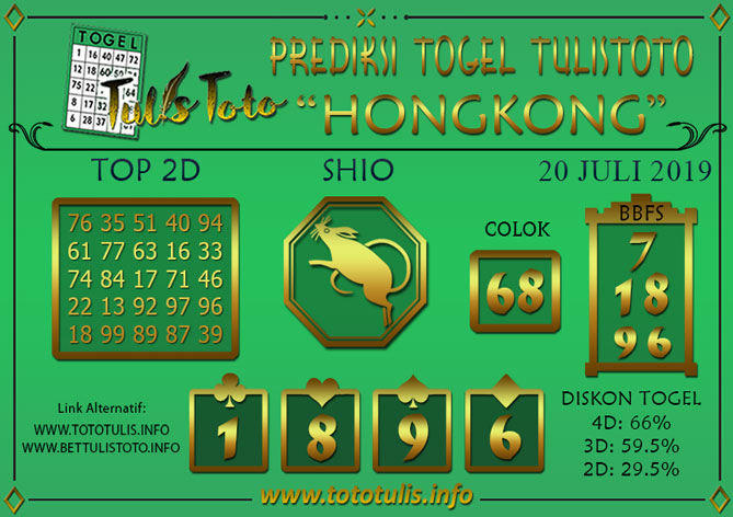Prediksi Togel HONGKONG TULISTOTO 20 JULI 2019