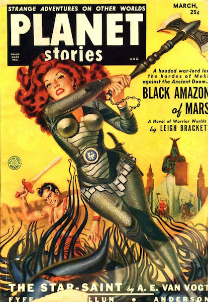 Cover of Planet Stories pulp magazine, featuring woman in armour swinging an axe at some alien tentacles