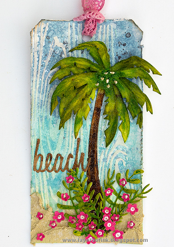 Layers of ink - Sparkly Tropical Beach Tutorial by Anna-Karin Evaldsson.