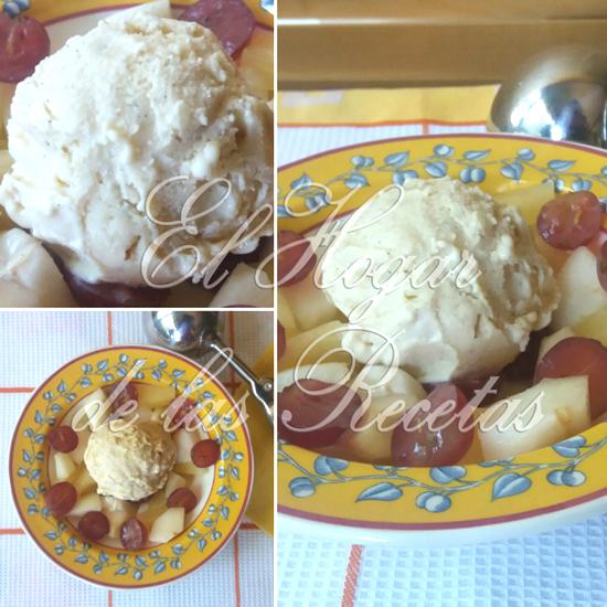 Helado de vainilla acompañado con macedonia de frutas