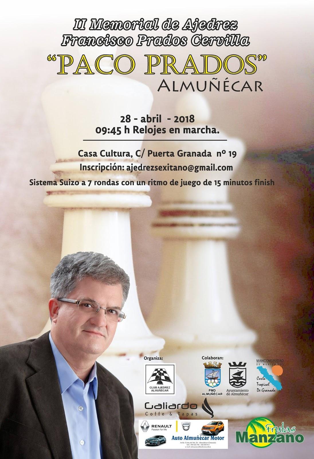 """II Torneo de Ajedrez Memorial de Francisco Prados Cervilla """"Paco Prados"""" para el 28 de abril"""