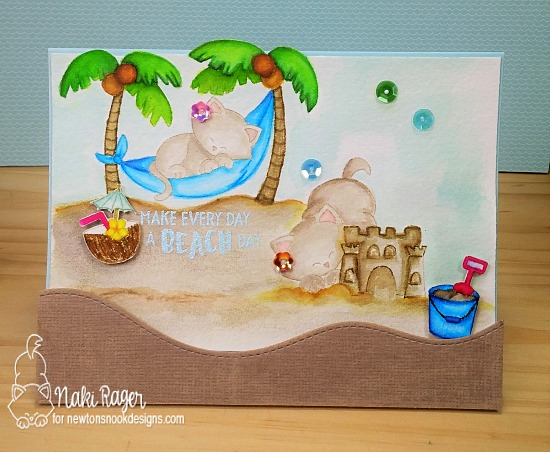 Summer kitties on the beach card by Naki Rager | Newton's Summer Vacation & Aloha Newton stamp sets by Newton's Nook Deisgns