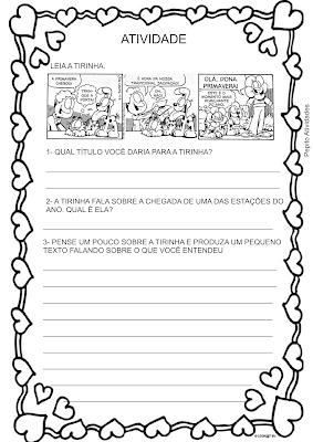 Atividade Gênero Textual Tirinha Estação do ano Primavera
