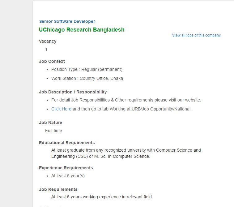 UChicago Research Bangladesh Senior Software Developer Job Circular