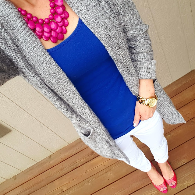BP. Cardigan (similar) // Merona Tank - only $5 (regular $9) // Gap Factory Jeans (similar - on sale for $28) // Franco Starto Heels (similar with closed toe) // Michael Kors Runway Watch (on sale in gold and tortoise + free shipping!)