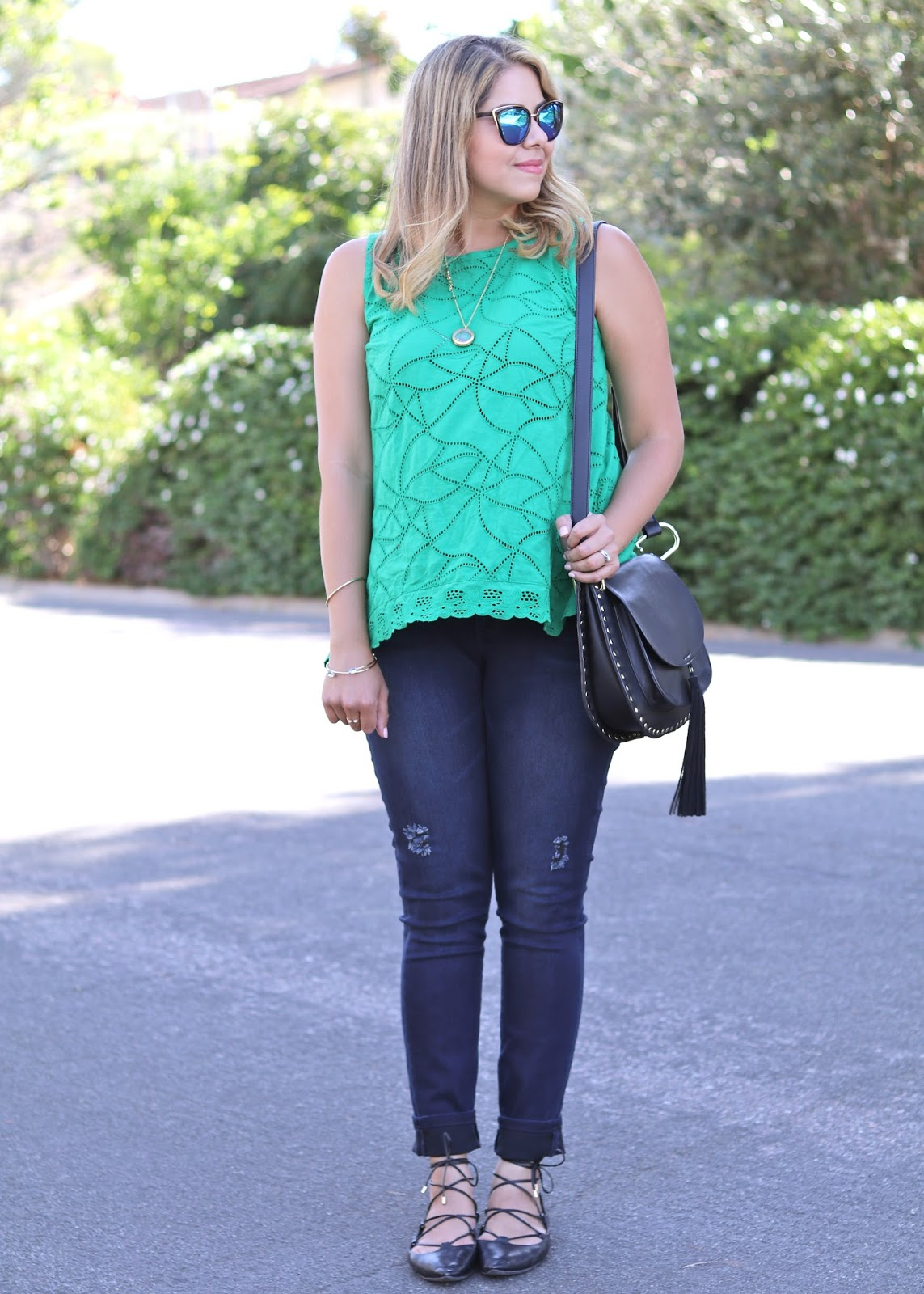 Summer Outfit 2016, green and blue outfit, socal fashion blogger, cutely accessorized summer outfit