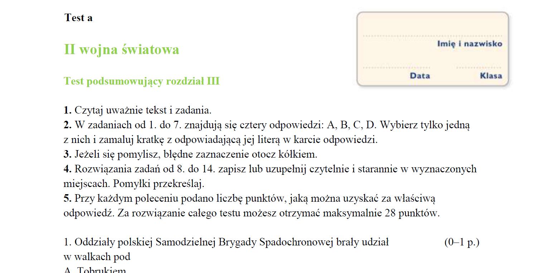 polska i świat po ii wojnie światowej sprawdzian pdf