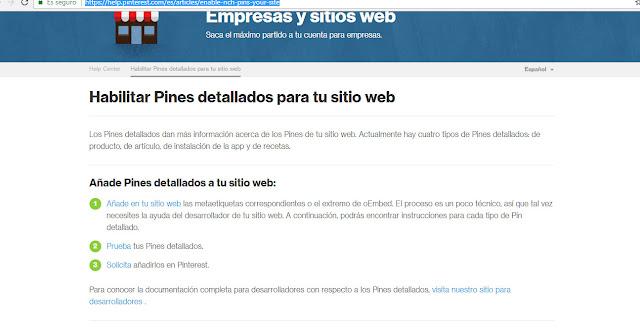 Como agregar Rich Pin de pinterest a tu blog en blogger / pines detallados para blogger