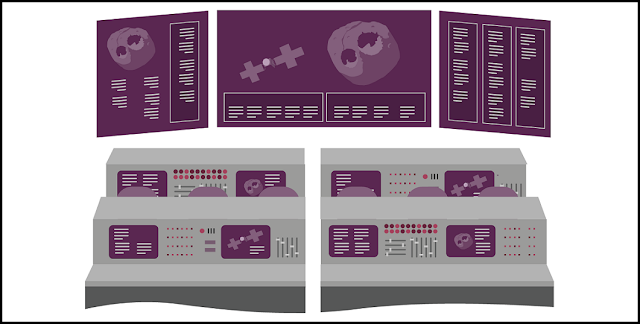 Artist's rendition of a space mission control room, part of the materials included in the NASA Psyche Mission Innovation Toolkit. Image courtesy ASU EdPlus