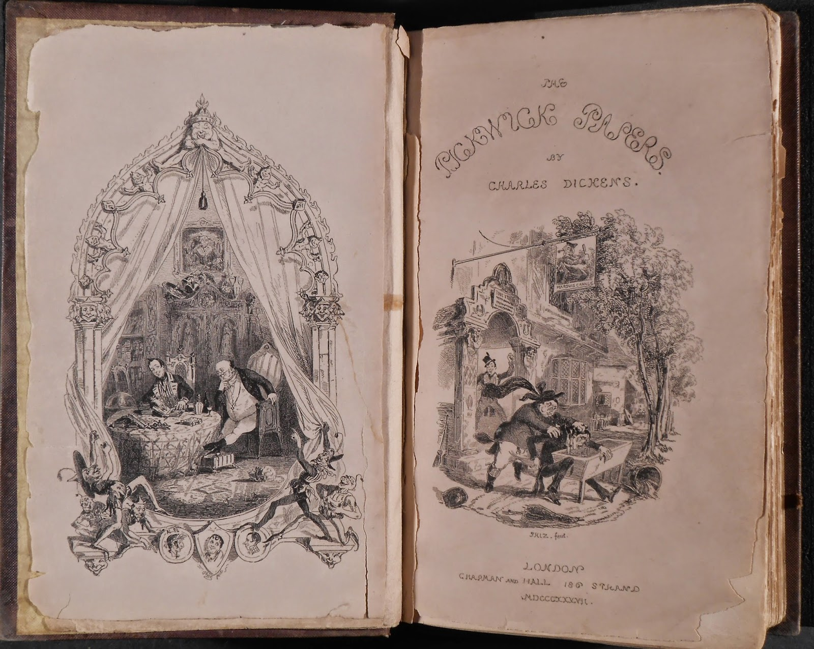 "The decorated title page and frontispiece for ""The Pickwick Papers."""
