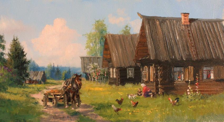 Cuadros modernos pinturas y dibujos paisajes con casas - Paisajes de casas de campo ...