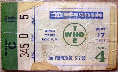 The WHO ticket stub September 17, 1979 at Madison Square Garden