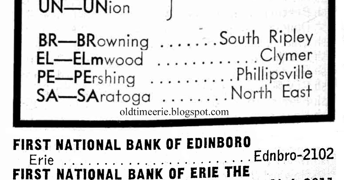 Old Time Erie: Erie Telephone Exchanges 1959