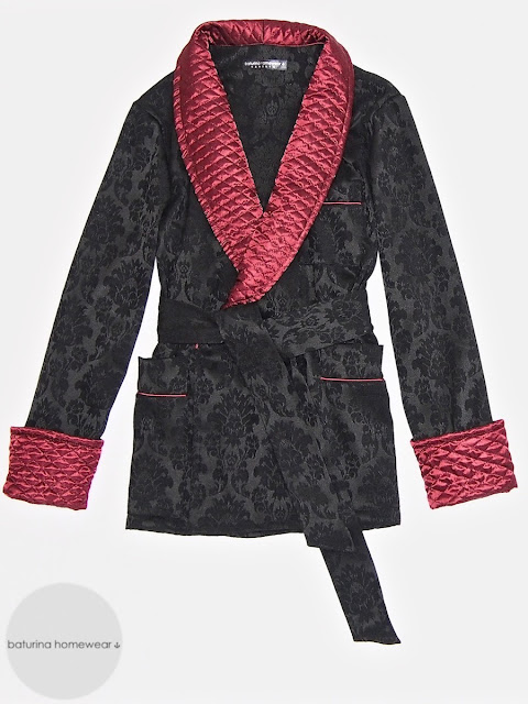 Herren Hausjacke Morgenmantel englisch Hausmantel kurz Seide Baumwolle gesteppt edel elegant schwarz weinrot