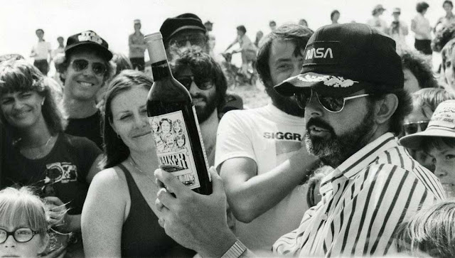 George Lucas with a bottle of Skywalker Wine