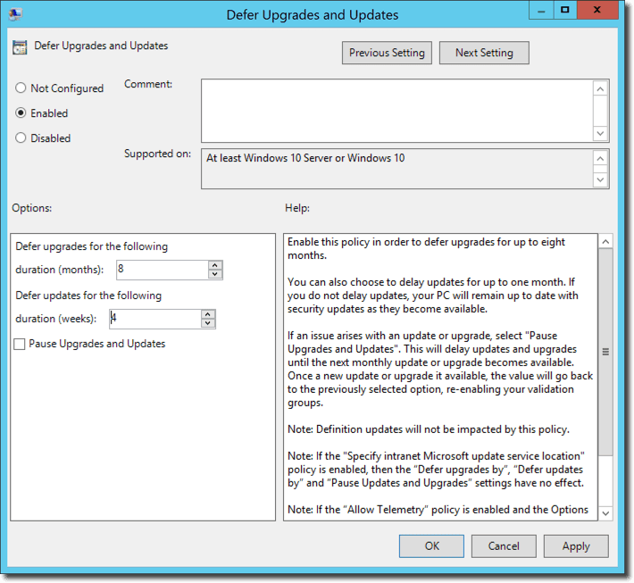 Henk's blog: Defer Windows 10 upgrades in Group Policy and ConfigMgr