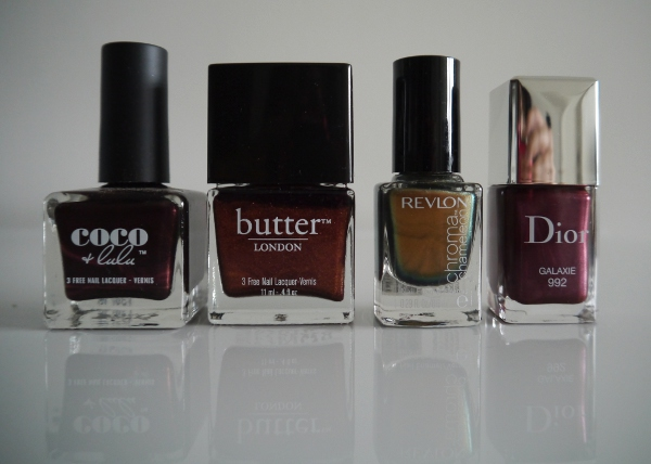 Deep, rich metallic nail polishes for Autumn/Winter 2013: Coco + Lulu 'Bordeaux', Butter London 'Shag', Revlon Chroma Chameleon 'Rose Gold', Dior Vernis 'Galaxie'