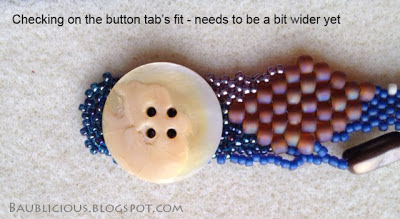 detai - testing button placementl, freeform peyote bracelet construction by Karen Williams