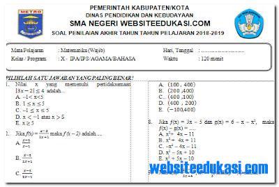 Soal PAT/UKK Matematika Kelas 10 K13 Tahun 2018/2019