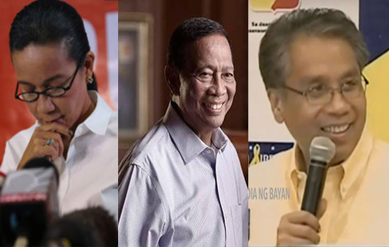 Senator Grace Poe, VP Jejomar Binay and Mar Roxas conceded