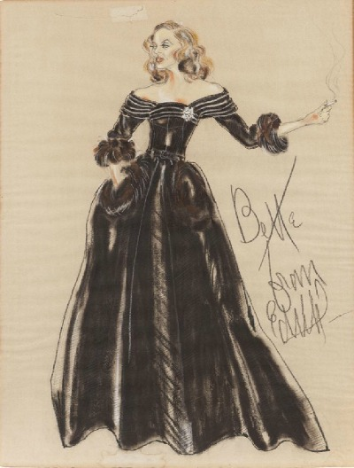Sketch of Bette Davis in Black Evening Gown by Edith Head for 1951 All About Eve