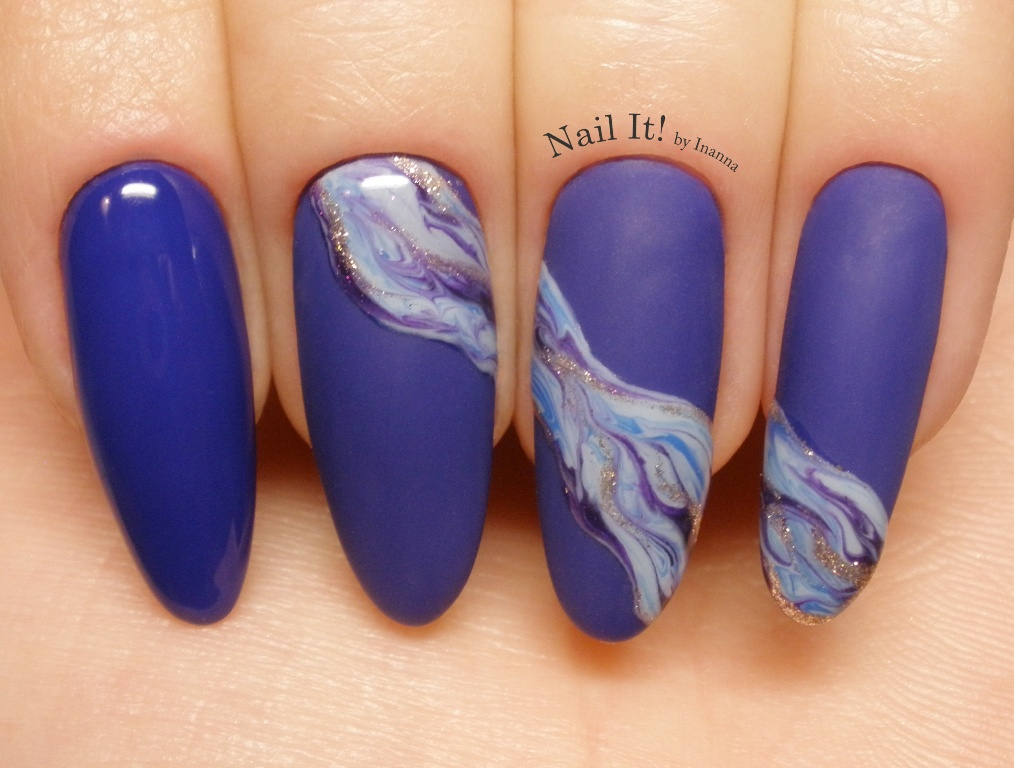 "Marble Wave Nail Art (made with Indigo Nails ""Kurt Cobalt"" gel polish"