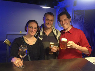 A toast to indie cinema: C.J. Lazaretti (right)  with fellow filmmakers Paul Herbert and Charli Hendy