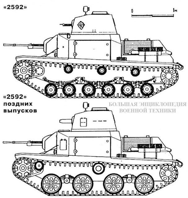 Легкий японский танк «2592» раннего и поздних выпусков