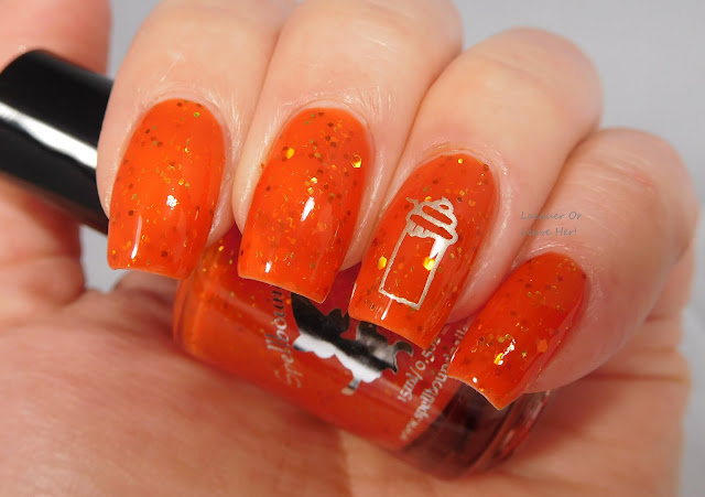Spellbound Nails Pumpkin Spice Latte stamped with UberChic Beauty and Messy Mansion Soft Gold