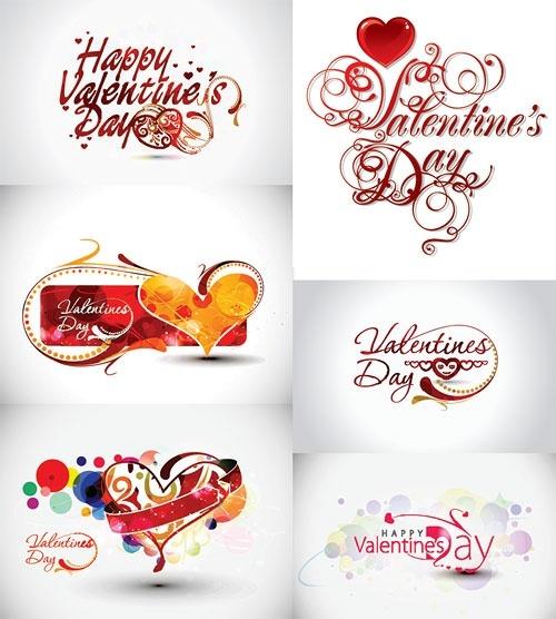 Valentine day word them Free vector