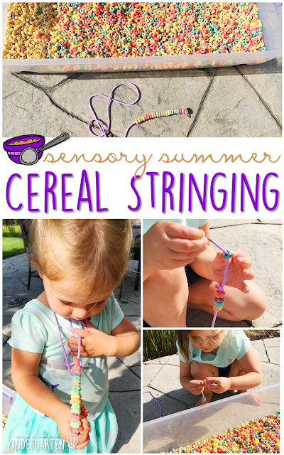 Practice fine motor skills with this cereal filled sensory bin! This is a perfect activity for summer tot school, preschool, or kindergarten!