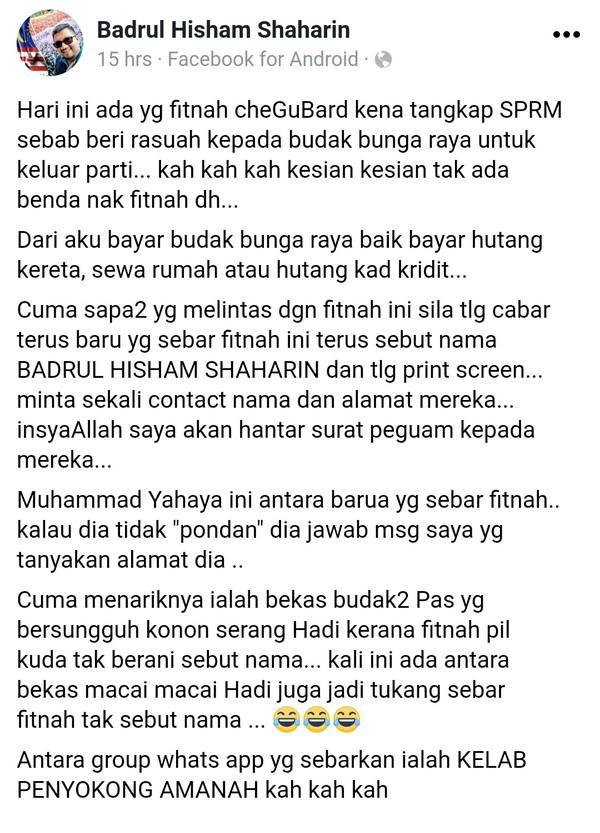Macai Mahathir fitnah CheguBard ditahan SPRM beli penimpin cap Bunge