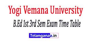 YVU B.Ed 1st 3rd Sem Exam Time Table 2017