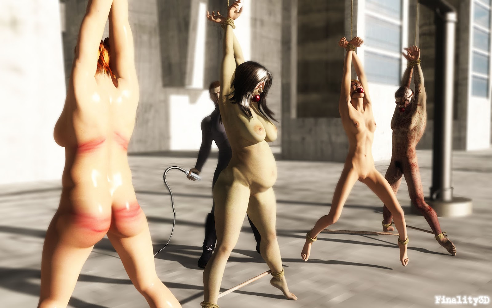 Nude girls strung up bdsm will