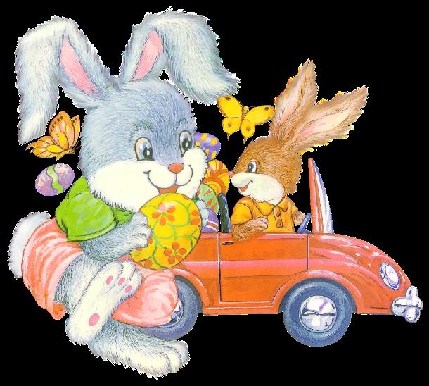 conejitos pascua con coche rojo y huevos