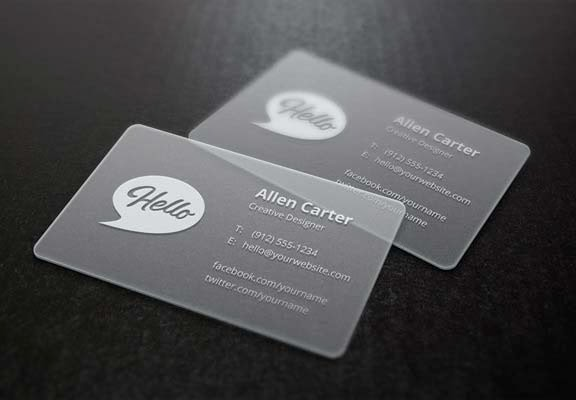 Translucent Business Card Template and MockUp