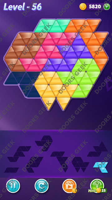 Block! Triangle Puzzle 8 Mania Level 56 Solution, Cheats, Walkthrough for Android, iPhone, iPad and iPod