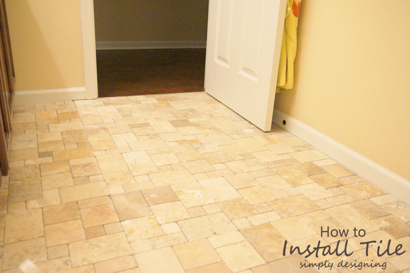 Travertine Tile Installed without Grout | a complete tutorial for how to demo, prep, install concrete backer board and install tile | #diy #bathroom #tile #thetileshop @thetileshop