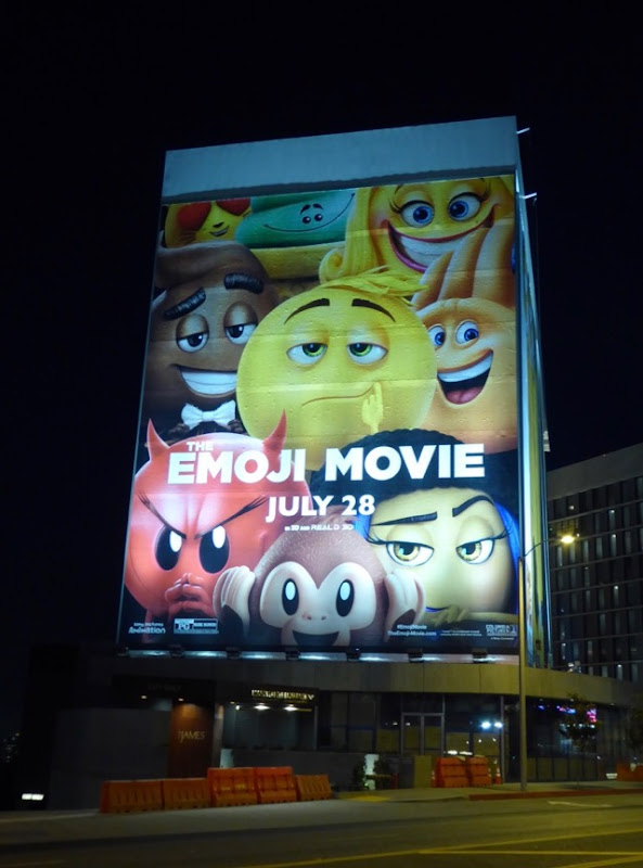 Giant Emoji Movie billboard Sunset Strip night