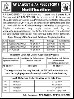 AP LAWCET Exam is on 19-04-2017