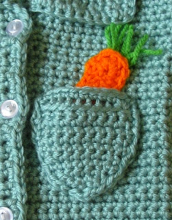Crochet carrot applique in pocket