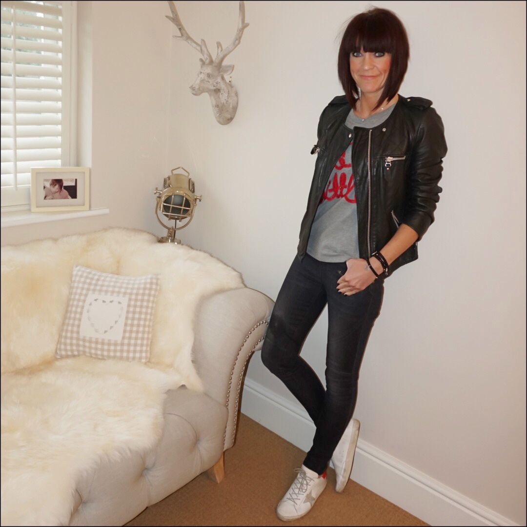 my midlife fashion, isabel marant leather biker jacket, j crew live a little tee, hush biker jeans, golden goose superstar low top leather trainers