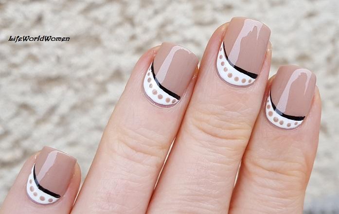 Light Brown White Striping Brush Dotting Tool Nail Art