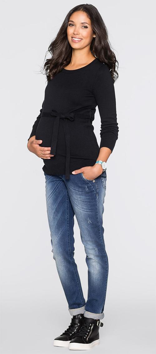 Pull noir en coton future maman Bonprix