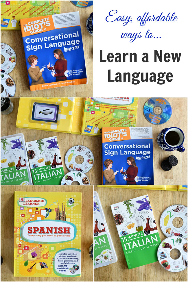 easy & affordable ways to learn a new language - with kits for Spanish, Italian and sign language