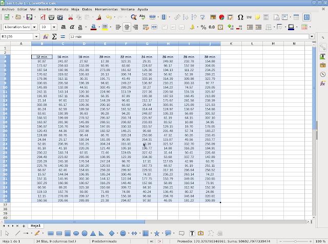 selecionar area de tabla en calc libreoffice